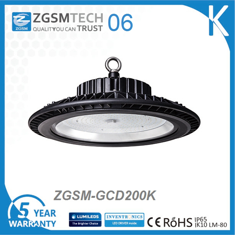 200W LED UFO High Bay Light for Warehouse Commercial Area Indoor Use