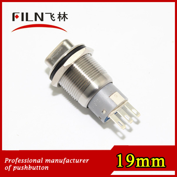 19mm flat round 1NO1NC stainless steel nickel plated gold plated metal knob rotary switch LED type fast delivery
