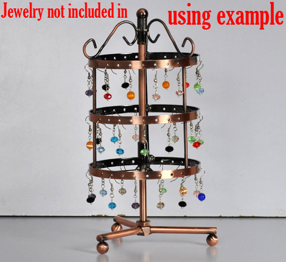 Round 72-Hole Revolving Jewelry Display Earrings Stand Holder 11x11x25cm