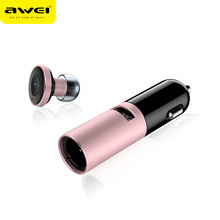 AWEI A870BL Mini Stereo Car Bluetooth Wireless Earphone Handsfree Car kit headphone with Base Charging Dock