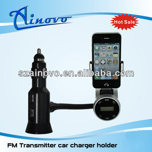 FM Transmitter car charger holder bluetooth,dual frequency fm transmitter