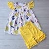 yiwu mayflower clothing summer clothes for children baby toddler princess outfit pearl sleeve top with three ruffle pants