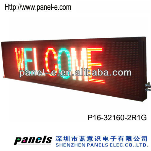 Hot sale!P16 32x160 tri color half outdoor cheaper text message display,LED moving sign