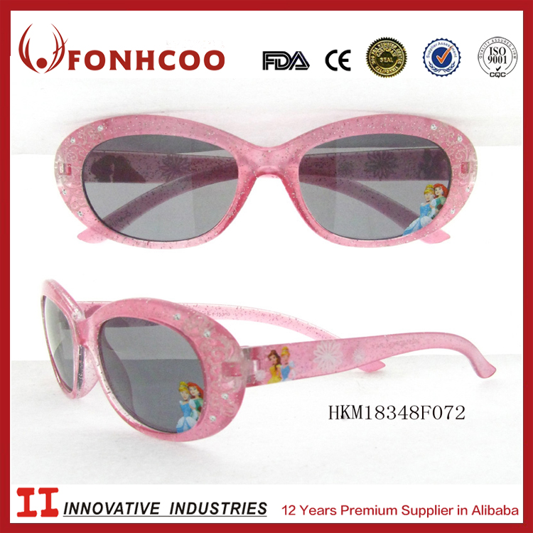 FONHCOO Beautiful Design Pink Diamond Stone Decor Full Frame Child Sunglasses For Girl