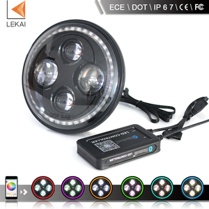 high low beam app bluetooth 40w dot and ece jeep wrangler and land defender 7inch led rgb drl halo headlight
