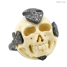Indian 925 Silver Diamond Pave Bone Carved Gemstone Skull Ring