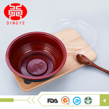 Black red have lid cheap plastic disposable japanese ramen bowl with double color