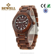 Unique newest design health red sandal wood watch, original bewell brand luxury gift wooden wrist watch