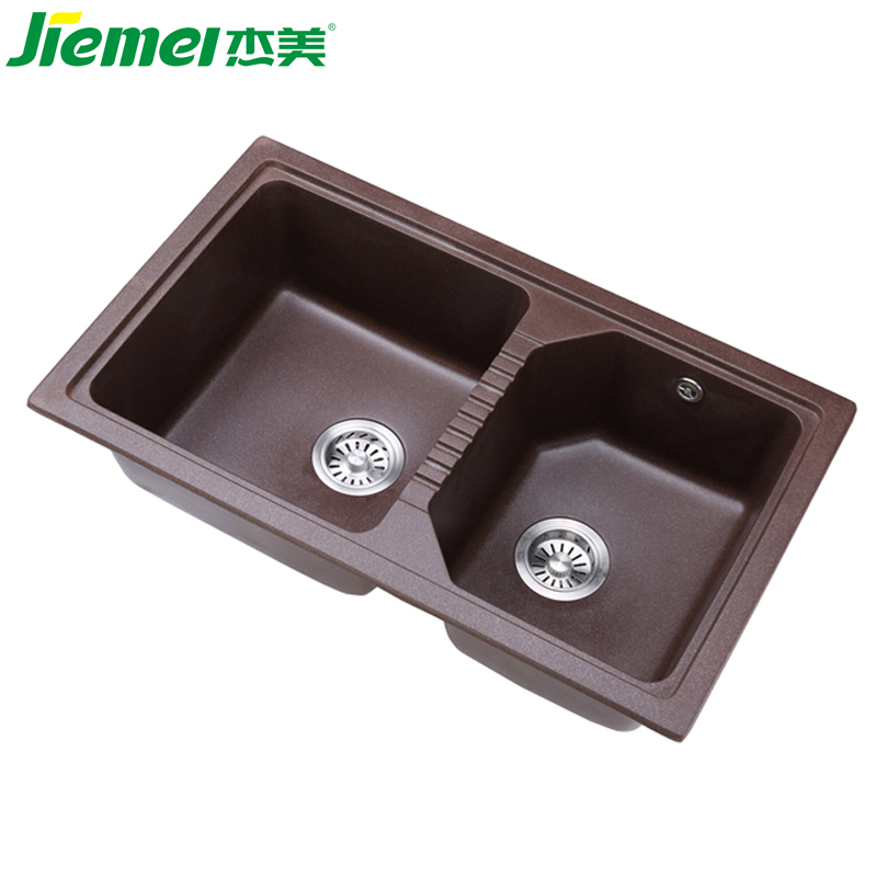 new premium Wholesaler quartz stone sink with double drain board kitchen sinks