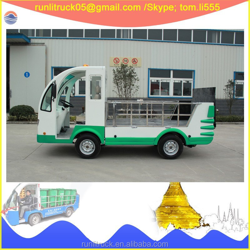 China refuse truck manufacture direct sale for 2580 mm wheelbase 2 seaters electric garbage truck sale