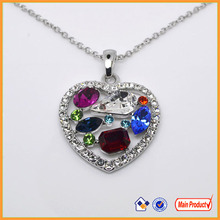 12 Years Boosin Fashion Jewelry multi precious stone heart shape pendant necklace for wedding date #19683