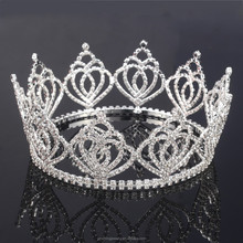 Big Luxury Round Pageant Crystal Royal Wedding <strong>Crown</strong>