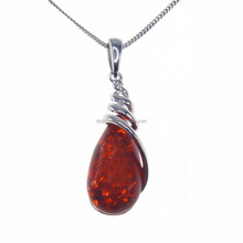 New Products 925 Sterling Silver Amber Pendants For Women Fashion Amber Jewelry DR032729P-2.67g
