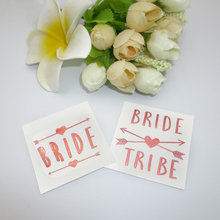 Metallic Rose Gold Team Bride Tattoos Sticker Come With 2 Bride and 10 Bride Tribe