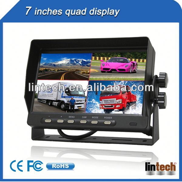 New car lcd monitor 7 inch portable lcd screen with 4 AV inputs