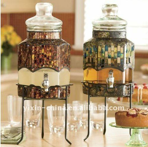 Storage Juice Inlaid With Mosaic Glass Dispenser Packing Glass Jar With Spout