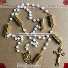 6mm cramic white rosary bead, catholic rosary with golden chain and FATIMA medal, jesus crucifix