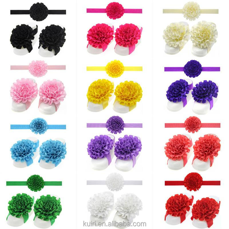 Lace Flower Foot & Headband For Baby Simple Kids Turban Girl Headband Elastic Hair Accessories 3pcs/set Baby Gifts