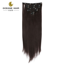 "Clip in 100% Remy Human Hair Extensions 10""-30"" Grade 7A Quality Full Head 8pcs 18clips Long Soft Silky Straight for Women"