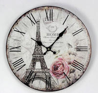 promotional wall clock Decorative 10/12 INCH MDF wall clock Eiffel Antique art wall clock WCO0776