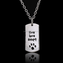 New Rectangular Dog Tag Style Pendant Necklace Cat Dogs Live Love Adopt Pet Rescue Paw Print Tag Wholesale Jewelry