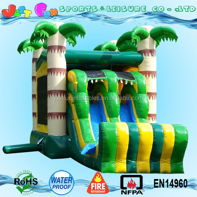 tropical palm tree bounce house and dual lane slide inflatable combo