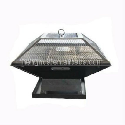 Square Outdoor Charcoal Camping BBQ Grll Mesh Safety Lid Fire pit