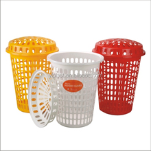 Big plastic laundry basket with lid
