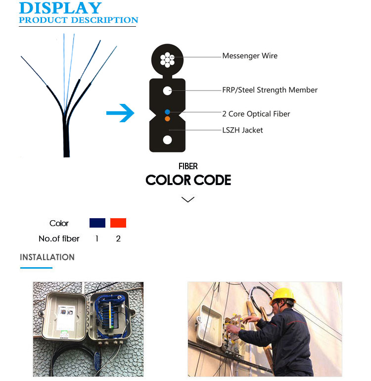 2 core Self supporting G652D outdoor ftth drop fiber optic cable