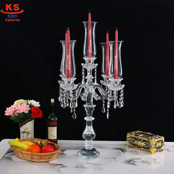 Table Decorations Wholesale Wedding Crystal Candelabra With Cylinder