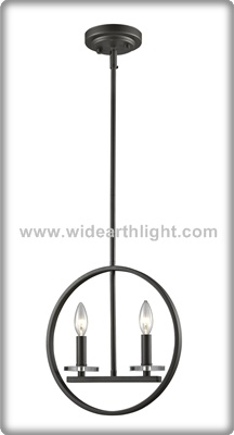 UL CUL Listed Painted Black Metal Pendant Lamp With Circle Hanging And Double Candle Lights C50361