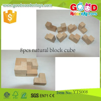 Wooden Teaching Tools Educational Block Toys 8pcs Natural Block Cube