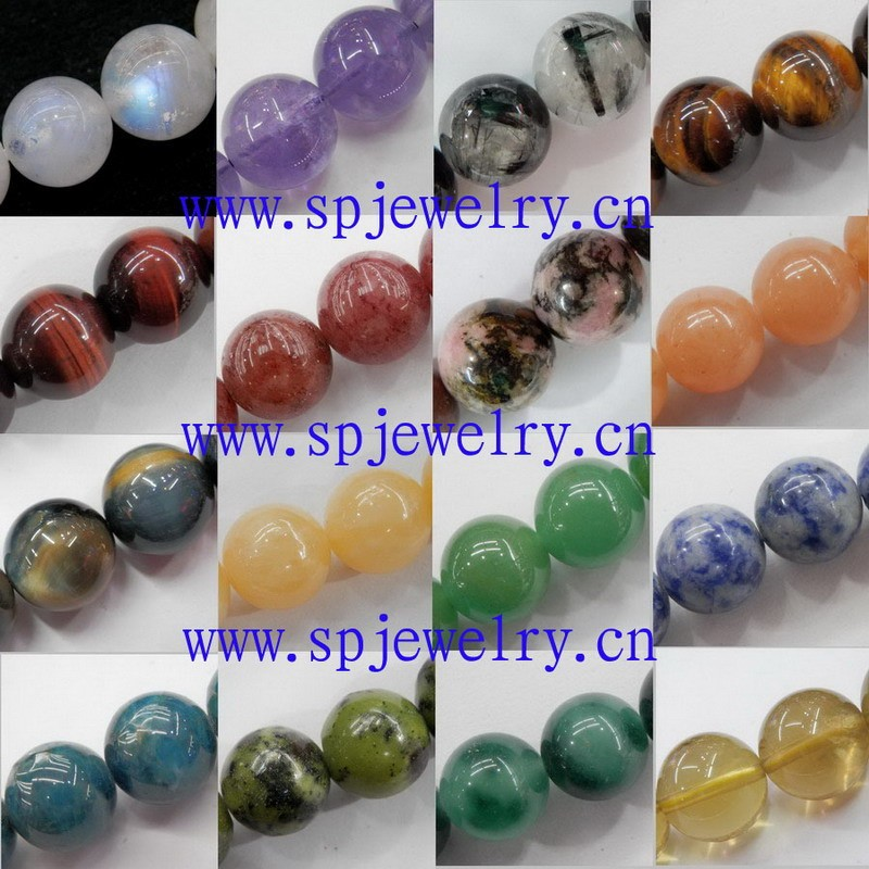 2mm hole beads gemstone, round 4-16mm, 16-inch per strand
