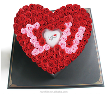 Alibaba China Custom Flower Paper Box Luxury Heart Shaped Box with Ribbon Tie Lid Box