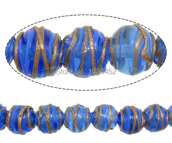 Free shipping!!!Gold Foil Lampwork Beads,Exquisite, Round, blue, 12x11mm, Hole:Approx 2mm, Length:10 Inch, 10Strands/Lot