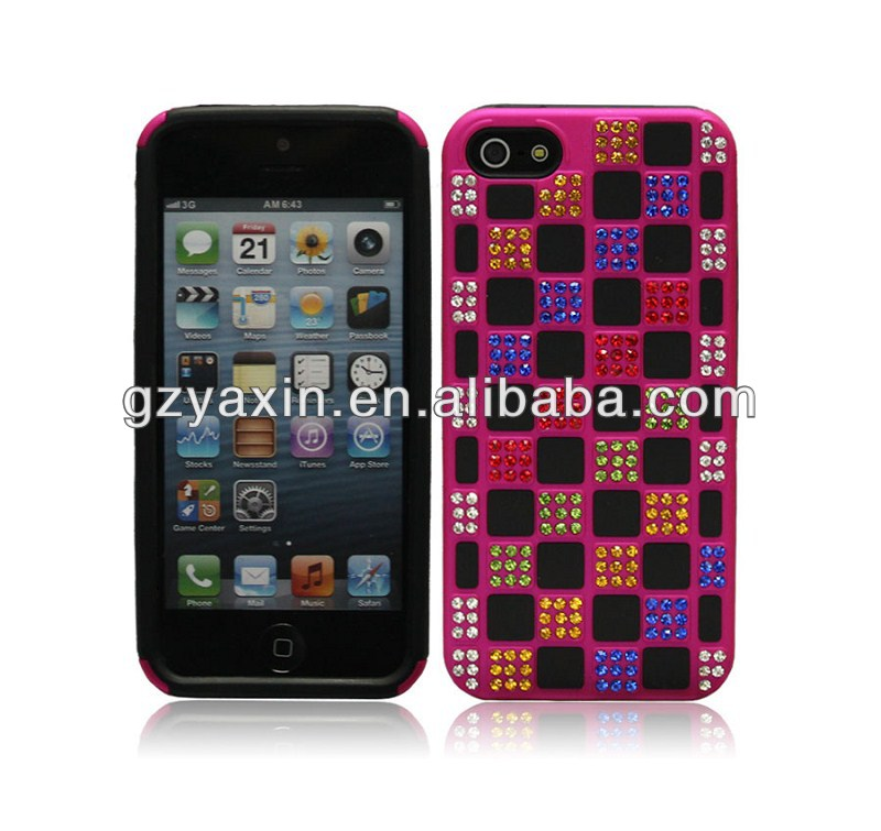 Stylish For IPhone5S Plastic Case Diamond Cover Factory,For Iphone 5 Bling Bling Diamond Case