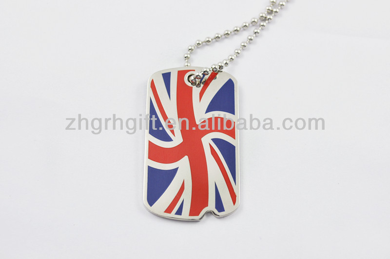 OEM/ODM wholesale cool man UK flag cheap dog tag necklaces