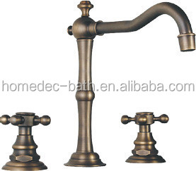 Deck Mount Contemporary Bathroom Bath Tub Faucet Two Handles Long Spout Antique Inspired Solid Brass Bathroom Sink Mixer Tap