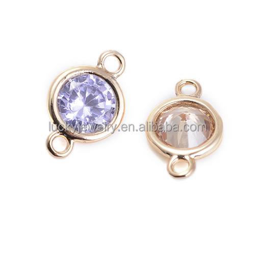 Fashion Light Purple and Light Rhodolite Cubic Zirconia Jewelry Findings jewelry Gold Plated Findings Components