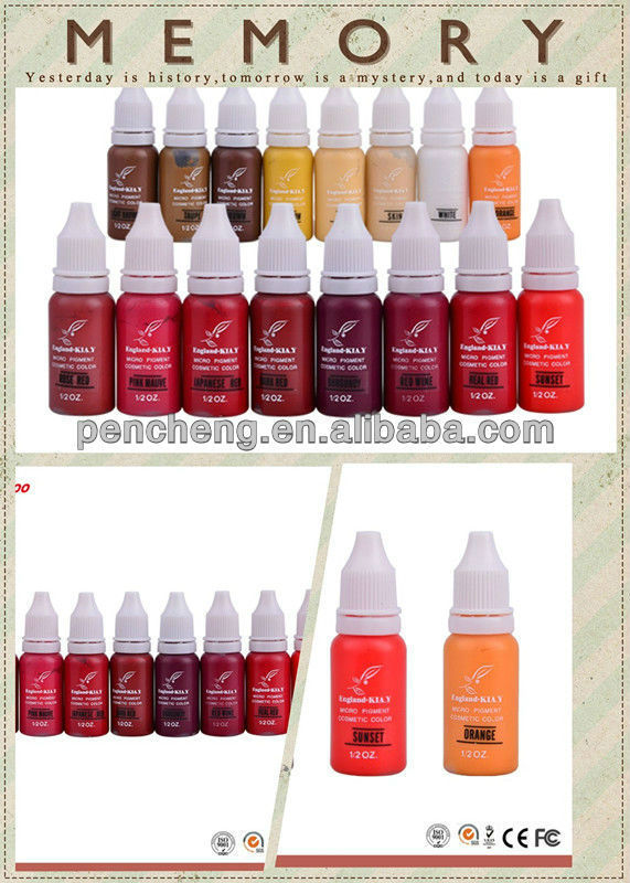 England brand Cosmetic Micro Tattoo Permanent Makeup pigment over 22 Colors plastic & emulsion ink
