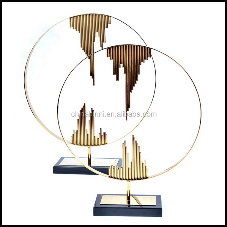Modern Metal Artwork Luxury Living Room Show Pieces Marble Temple Home Decoration For Hotel Furniture Projects Supplier
