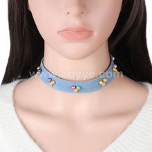 Creative personality design fashion women jewelry colorful pearl denim necklace