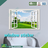 Removable pvc waterproof beautiful scenery self adhesive home decor 3d view wall window stickers