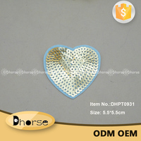 Wholesale fashion custom gold heart sequin patch iron on embroidery patches DHPT0931