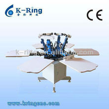 KR660M Manual 6 color/6 station t shirts rotating screen printer with micro adjustment