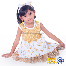 Christmas Glitter Ruffle Dress Kids Gold Deer Clothing Baby Dress Pictures