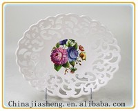 cheap hollow out white plastic plate
