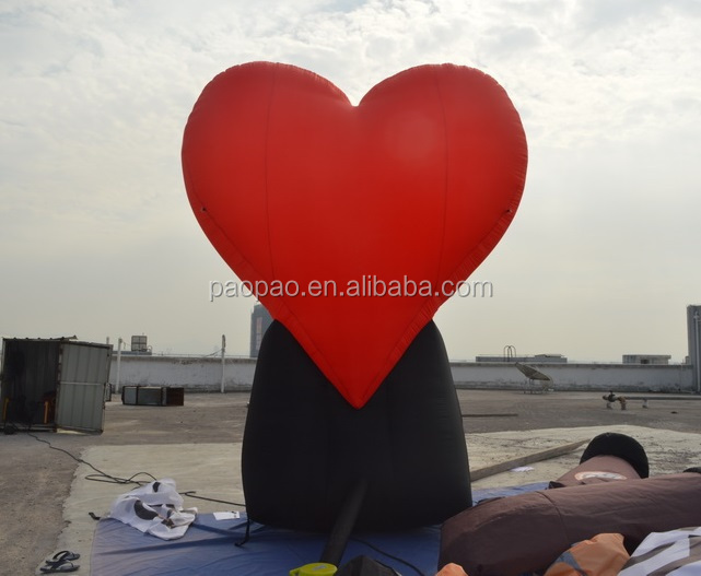 4m inflatable heart balloon, air blown giant inflatable billboard