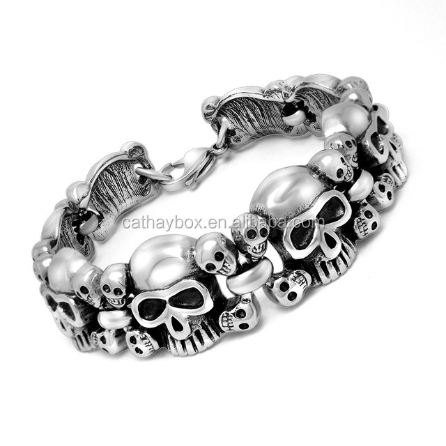 Men Vintage Look Silver Tone Gothic Skull Stainless Steel Link Chain Bracelet
