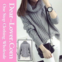 Latest Design Grey Oversized Cowl Neck Cable Knit Winter Sweater Women